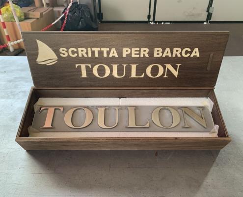 Scritta per barca in acciaio inox TOULON